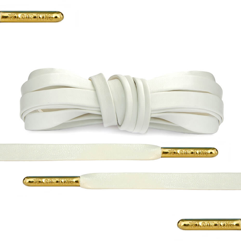 Luxury White Leather Shoe Laces with