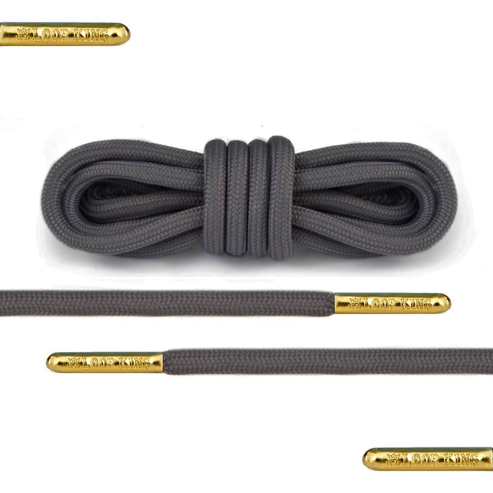 Rope Dark Grey Shoe Laces with Gold