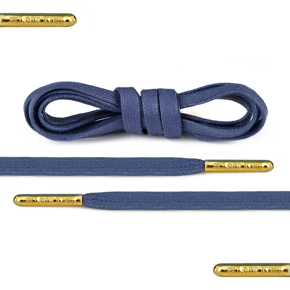 Flat Waxed Blue Shoe Laces with Gold